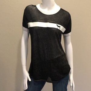 PINK Victoria's Secret Black Burnout Shirt